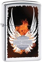Zippo Harley-Davidson High Polish Chrome Outdoor Indoor Windproof Lighter Free Custom Personalized Engraved Message Permanent Lifetime Engraving on Backside