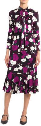 Erdem Hilma Bow Flounce Dress