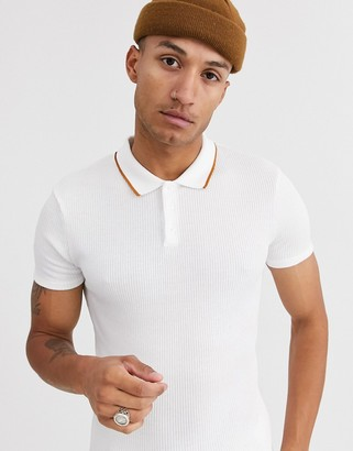 Topman knitted polo in white