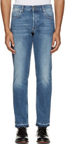 Alexander McQueen Blue Denim Frayed Jeans
