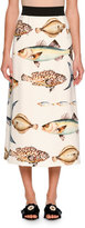 Dolce & Gabbana Fish-Print A-Line Midi Skirt, White Pattern