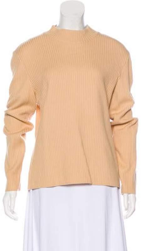 St. John Mock Neck Lightweight Sweater Tan Mock Neck Lightweight Sweater