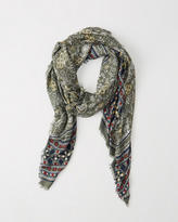 Abercrombie & Fitch Printed Fringe Scarf