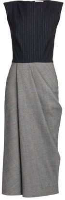 Alexander McQueen Bi-Color Peak Shoulder Midi Dress