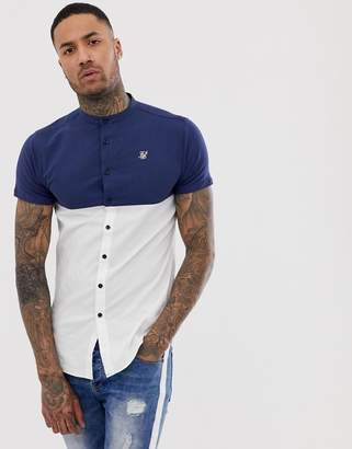 SikSilk short sleeve shirt in white with contrast panel