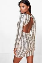 Boohoo Jo Sequin Stripe Open Back Bodycon Dress