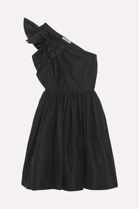 Prada One-shoulder Bow-embellished Silk-faille Dress - Black