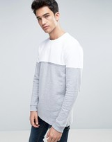Benetton Sweatshirt With Open Hem And Color Block Detail