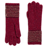 Johnstons of Elgin Claret Cashmere Tweed Stitch Gloves