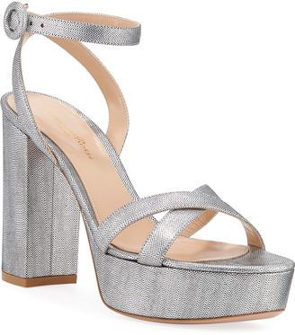 Gianvito Rossi Metallic Block-Heel Platform Sandals