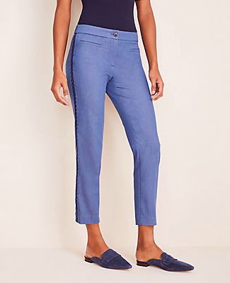 Ann Taylor The Petite Chambray Cotton Crop Pant