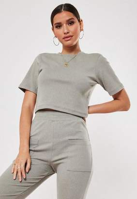 Missguided Khaki Co Ord Ribbed Crop T Shirt