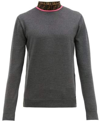 Fendi Logo Jacquard Wool Blend Sweater - Mens - Grey