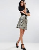 Asos Mini Skirt in Gold Star Jacquard with Zip Detail