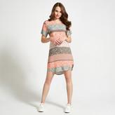 Apricot Khaki & Coral Ditsy Folk Stripe Print Shift Dress