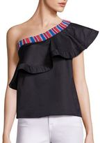 Saloni Esme Beaded One-Shoulder Top