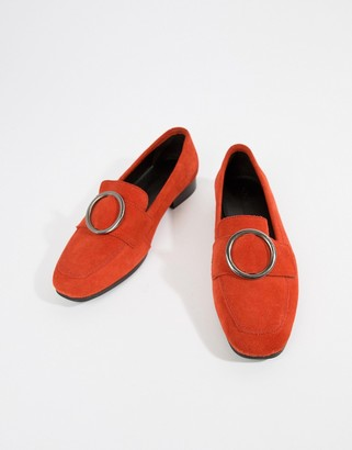 Asos Design DESIGN Magnet suede ring detail loafers-Red