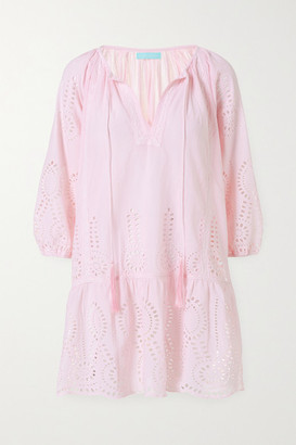 Melissa Odabash Ashley Lace-trimmed Broderie Anglaise Cotton Kaftan - Pastel pink