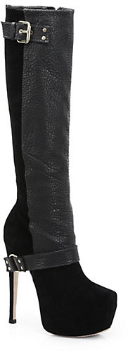 Alice + Olivia Laverna Leather & Suede Platform Boots
