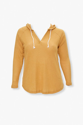 Forever 21 Plus Size Waffle Knit Hooded Top
