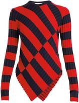 Altuzarra Mullins asymmetric striped ribbed-knit top