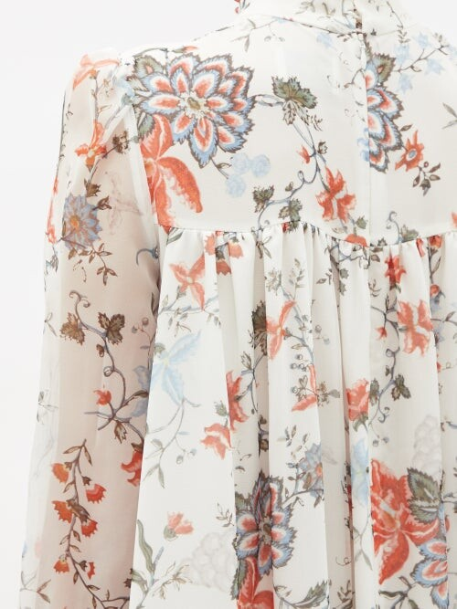 Thumbnail for your product : Erdem Rosalind High-neck Floral-print Silk Gown - White Multi
