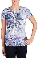 Allison Daley Petites Wide Crew Neck Grape Lilly Print Knit Top
