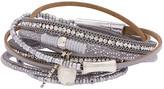 Saachi Style Style Women's Bracelets Grey - Gray & Imitation Pearl Sacramento Leather Bracelet