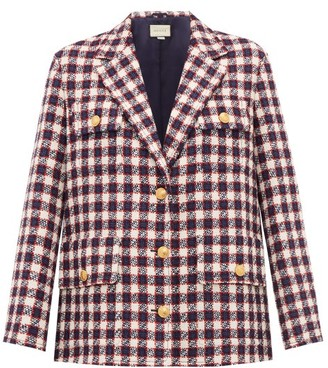 Gucci Checked Wool-tweed Jacket - Womens - White Multi