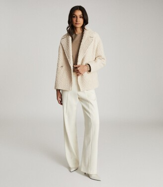 Reiss Scarlet - Wool Blend Teddy Coat in White