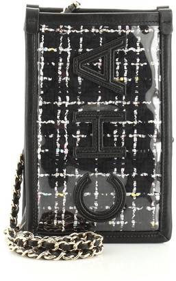 Chanel Logo Phone Clutch with Chain PVC Over Quilted Tweed