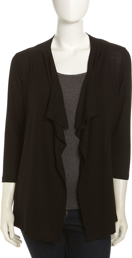 Neiman Marcus Ruched-Back Cardigan, Black