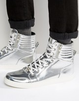 Asos High Top Trainers In Silver Metallic With Zips