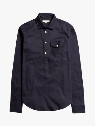 Far Afield Organic Cotton Pop-Over Shirt, Deep Well Blue