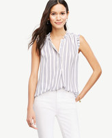 Ann Taylor Home Tops + Blouses Tall Striped Cutout Ruffle Shell Tall Striped Cutout Ruffle Shell