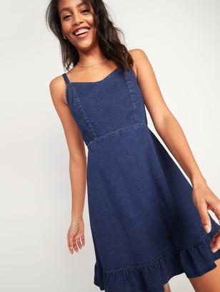 Old Navy Fit & Flare Cami Ruffle-Hem Jean Dress for Women