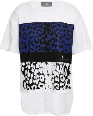 adidas by Stella McCartney Mesh-paneled Leopard-print Cotton-jersey T-shirt