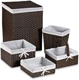 Redmon 5-Piece Hamper Set with White Liners in Espresso