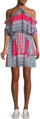 Parker Printed Ruffle Silk Halter A-Line Dress