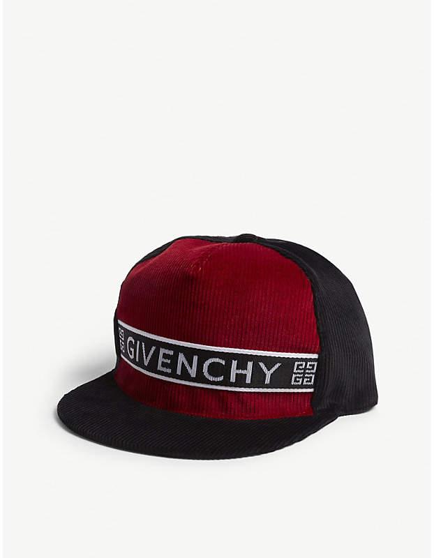 Givenchy Tape logo corduroy cap