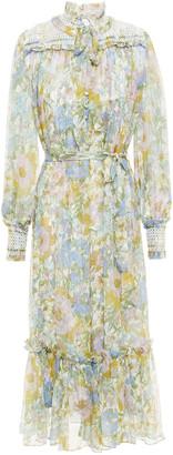 Zimmermann Super Eight Pussy-bow Smocked Floral-print Silk-georgette Midi Dress