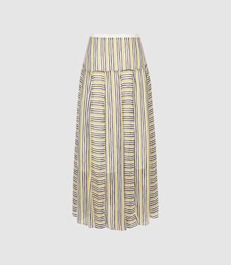 Reiss Maggie - Striped Midi Skirt in Multi