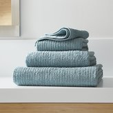 Crate & Barrel Ribbed Teal Bath Towels