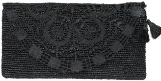 Valentina Black Handmade Lace Raffia Evening Clutch Bag