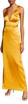 Aidan Mattox Sleeveless Column Gown with Side Slit
