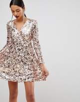 Club L Rose Gold Mini Disc Sequins Wrap Over Skater Dress