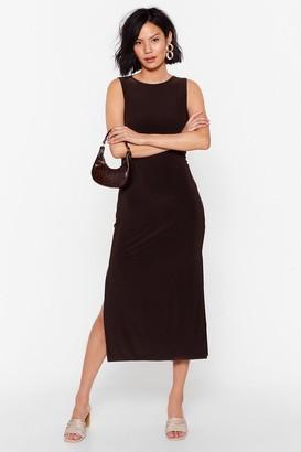 Nasty Gal Womens You've Got a Slinky Side Slit Midi Dress - Chocolate