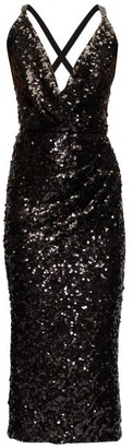 Dolce & Gabbana Deep V-neck Sequinned Midi Dress - Black