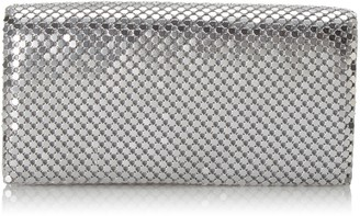 "Jessica McClintock Womens Metal Mesh Roll Evening Bag Clutch Purse (Shoulder Chain Included 4.5"" x 7.5"" x 2"")"