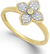 Macy's Diamond Flower Ring in 10k White, Yellow, or Rose Gold (1/10 ct. t.w.)